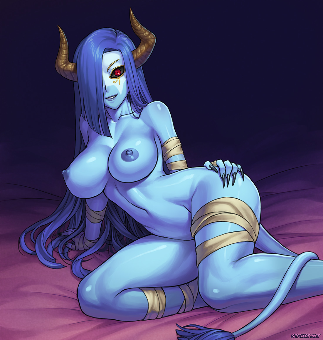 Would blue haired devil winged girl hentai good